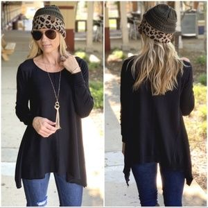 Black Asymmetrical Knit Tunic